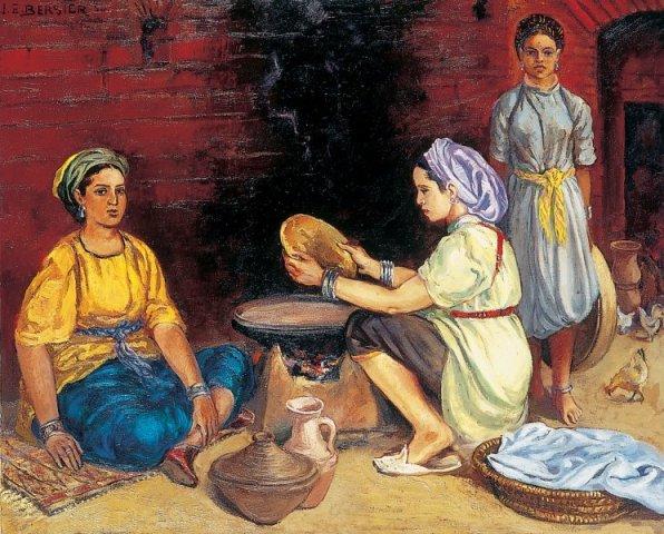 Femmes préparant le pain