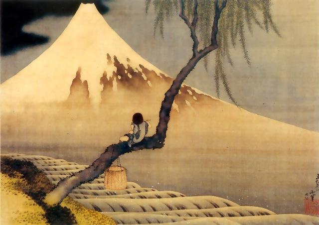 20140101Hokusai Joueur de flute assis sur une branche de saule, contemplant le mont Fuji-90[1]