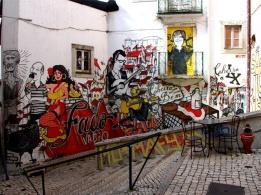 Fresque sur le fado dans le quartier de l'Alfama à Lisbonne.Geo
