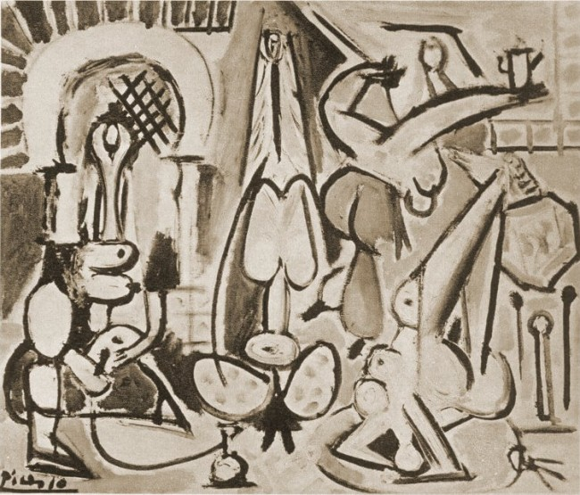 Les-femmes-dAlger-daprès-Delacroix-III-Paris-28-Decembre-1954-huile-sur-toile-54-x-65-cm-collection-privee