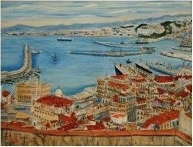 6Benaboura Hacène 1898 1960 vue du port dalger-peintres du monde center blog