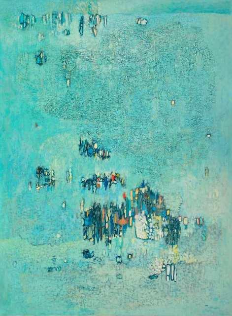 7-abdelkader_guermaz_composition_1970._huile_sur_toile_130_x_97_cm galerie claude leman-1919-1996