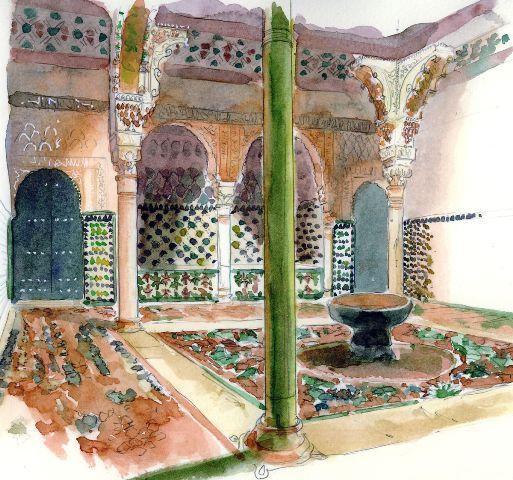 L'Alhambra de Grenade IntérieurCatherine Rossi Grenade, art mudejar @artmajeur.com