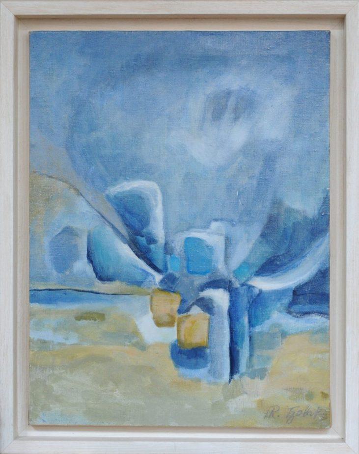 Rena-Tzolakis-Harmonie-en-Bleu-Huile-sur-toile-32X42-renatzolakis.com