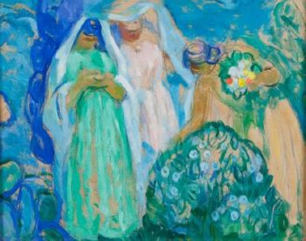 Augustin Ferrando Femmes cueillant des fleurs@blouinart sales index