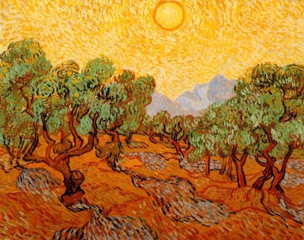 Van Gogh Olivier avec ciel jaune et soleil@kerdonis