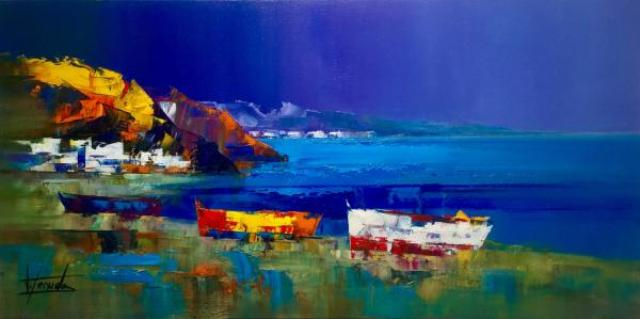 1Josep Texido Les barques admirent la mer Huile sur toile 50x100