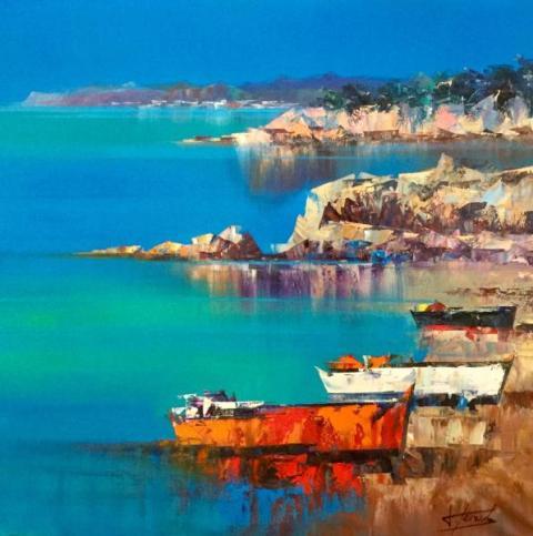 2Des rochers au bord de la mer Huile sur toile 100x100