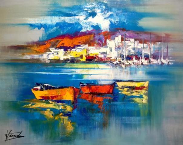 3Josep Texido Trois barques Huile sur toile 81x65 Galerie Graal.com
