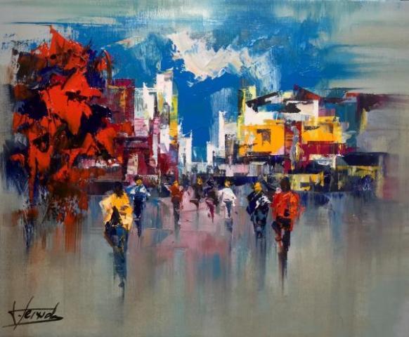 5Josep Texido Les couleurs de la ville Huile sur toile 46x38 Graal