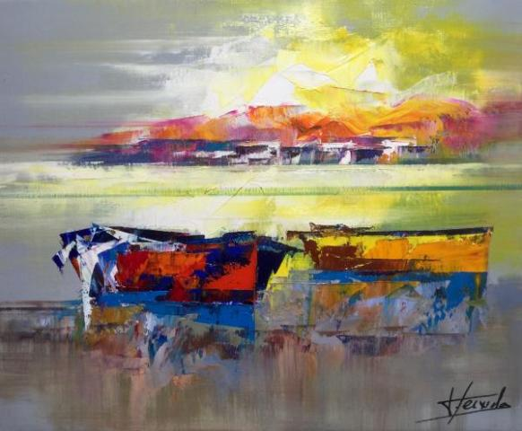 6Josep Texido La mer sous les rayons de soleil Huile sur toile 46x38