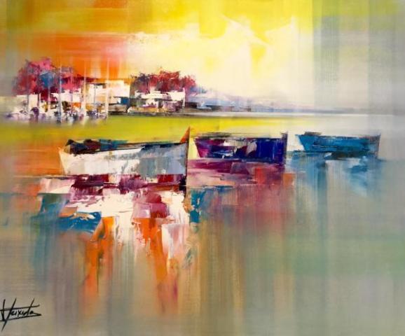 8Trois barques au coucher du soleil Huile sur toile 81x65